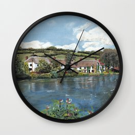 English Cottages by a River. Wall Clock