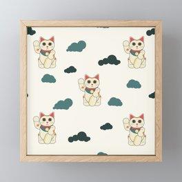 manekineko pattern Framed Mini Art Print
