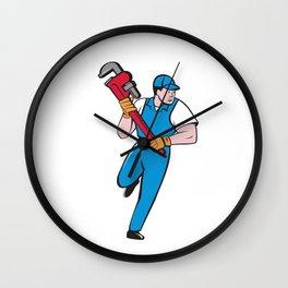 Plumber Running Pipe Wrench Cartoon Wall Clock