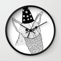 wizard Wall Clocks featuring Dog Wizard by Michael C. Hsiung
