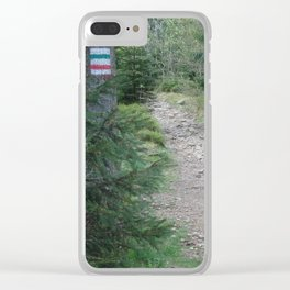 Trail in a mountains forest Clear iPhone Case
