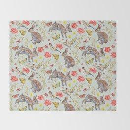 Bunny Meadow Pattern - Green Throw Blanket