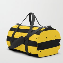 Black Yellow Vintage Stripes Pattern Duffle Bag