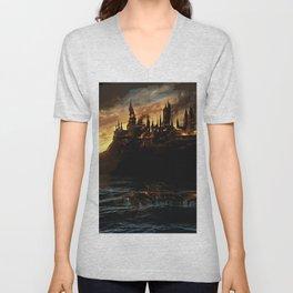 Harry Potter - Hogwart's Burning Unisex V-Neck