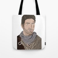 uncharted Tote Bags featuring Nathan Drake (Uncharted) by  Steve Wade ( Swade)