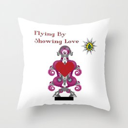 Flying By Showing Love Throw Pillow