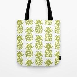 Retro Mid Century Modern Pineapple Pattern Olive Green Tote Bag