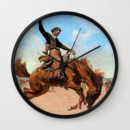 "Frederic Remington Western Art ""The Buck Jumper"" Wall Clock"