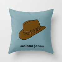 indiana jones Throw Pillows featuring Indiana Jones by Illustrated by Jenny