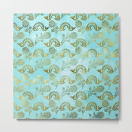 Mermaid Ocean Whale Friends - Teal And Gold Pattern Metal Print