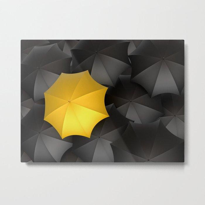 Black Umbrellas Metal Print