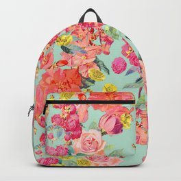 Antique Floral Print in Coral and Mint Tones Backpack