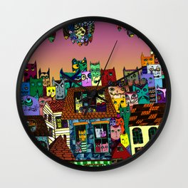 Cat's in the city Wall Clock