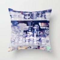 cameras Throw Pillows featuring Cameras by Sushibird