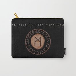 Mannaz - Wooden Celtic Rune of self, individuals, universe, family, loved ones, friends, devoted Carry-All Pouch
