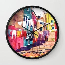 Laundry in Venice Wall Clock