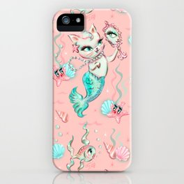 Merkittens with Pearls on blush iPhone Case
