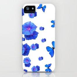 BABY BLUE ART BLUE BUTTERFLIES & MORNING GLORIES iPhone Case