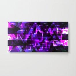 Violet horizontal strict stripes of sparkling blueberry triangles. Metal Print