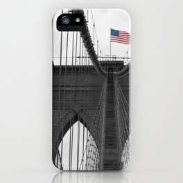 Brooklyn Bridge and American flag iPhone Case