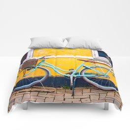 Bike and yellow Comforters