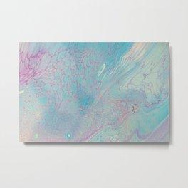 Fluid Art Acrylic Painting, Pour 23, Pastel Blue & Purple Blended Color Metal Print