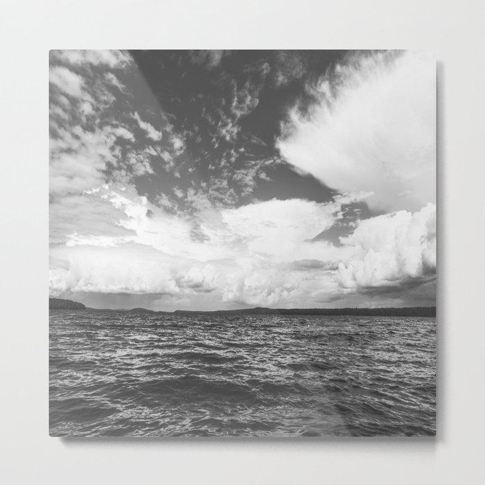 Black And White Lake Landscape - White Cumulus Clouds - Scandinavia - #Society6 #buyart Metal Print