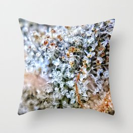 Diamond OG Top Shelf Trichomes Close Up View Throw Pillow