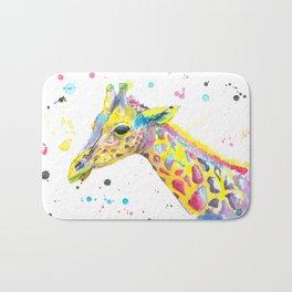 Giraffe - Watercolor Painting Bath Mat