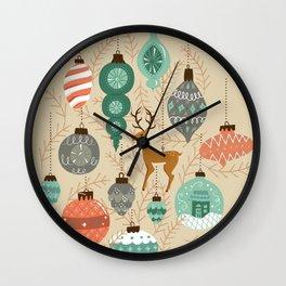 Holiday Ornaments in Aqua + Coral Wall Clock