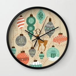 Holiday Ornaments in Aqua + Coral Wall Clock