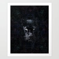 panther Art Prints featuring PANTHER by FLUFFY REMAINS