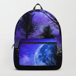 NEBULA STARS MOON BLACK TREES MOUNTAINS VIOLET BLUE Backpack
