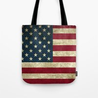 american flag Tote Bags featuring American Flag by Abbie :)