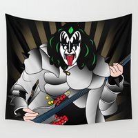 kiss Wall Tapestries featuring kiss by mark ashkenazi