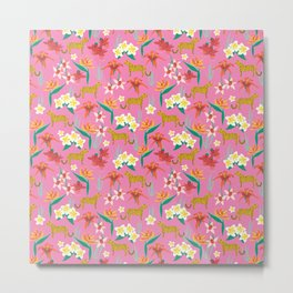Exotic Flowers and Cheetahs Pink Metal Print