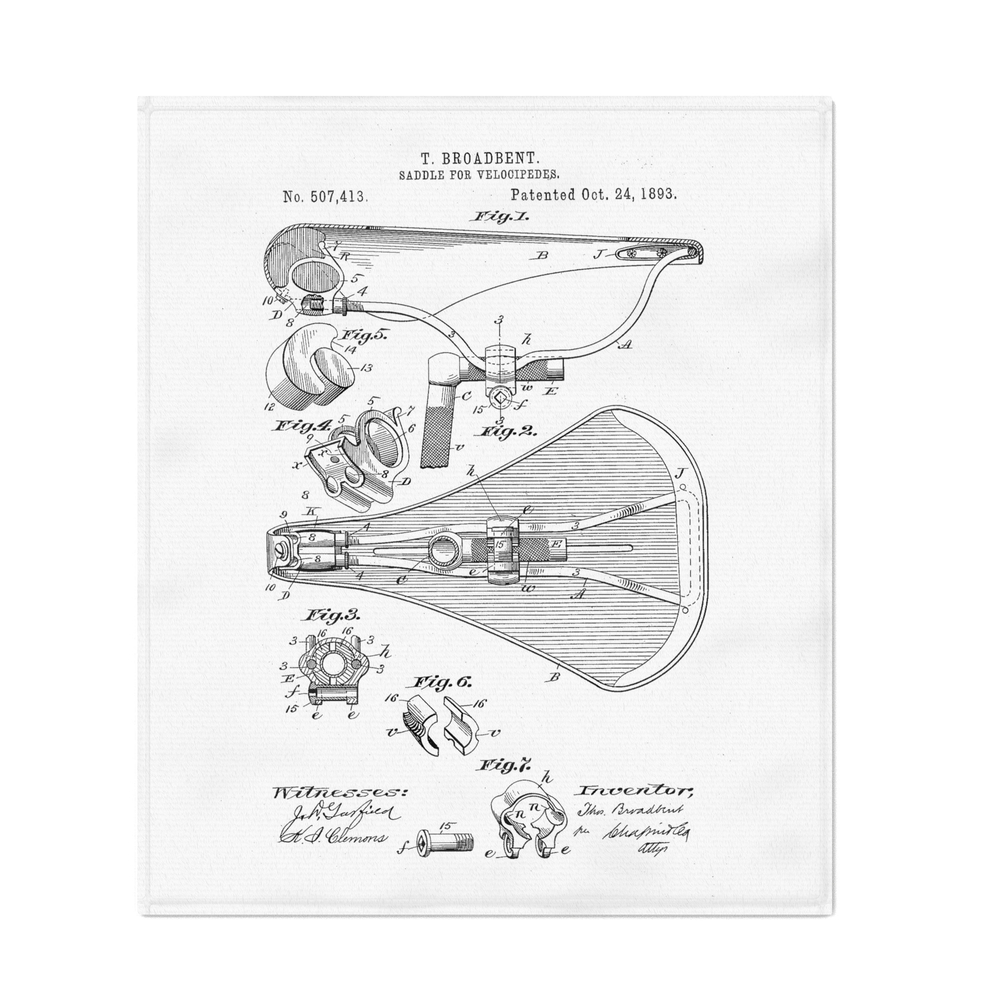 Patent_Art_Broadbent_Saddle_For_Velocipedes_1893_Throw_Blanket_by_greatartgallery