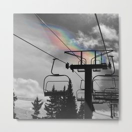 4 Seat Chair Lift Rainbow Sky B&W Metal Print