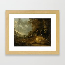 Landscape with Cows and a Young Herdsman, Aelbert Cuyp, 1650 - 1670 Framed Art Print