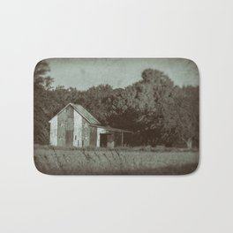 Patriotic Barn in Field Vintage Black and White Glass Plate Rural Landscape Photo Bath Mat