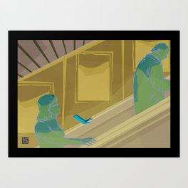 Escalator ride Art Print