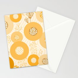 Modern Abstract Flowers Muted Orange Circles on Wavy Background Stationery Cards