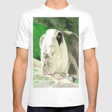 Rufus the Bulldog White MEDIUM Mens Fitted Tee