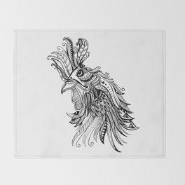Zentangle Rooster Throw Blanket