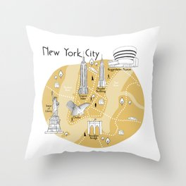 New York City Map - Yellow Throw Pillow