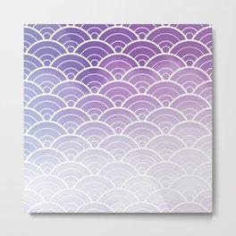Purple Ombre Japanese Waves Pattern Metal Print