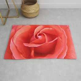 Salmon Floral Rose Abstract Rug