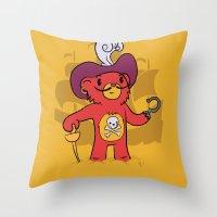 captain hook Throw Pillows featuring Captain Bear Hook by pepemaracas
