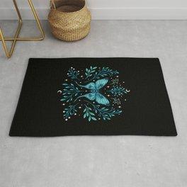 Mystical Luna Moth - Turquoise Rug