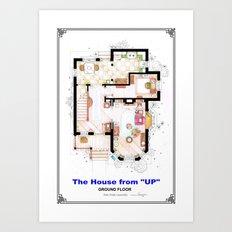 The House from UP - Ground Floor Floorplan Art Print